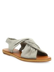 Derek Lam Pell Twisted Suede Flat Sandals Grey Safari