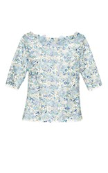 Luisa Beccaria Tulle Embroidered Flowers Top Blue