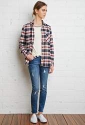 Forever 21 Tartan Plaid Flannel Shirt Cream Navy