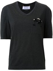 Muveil Embellished Chest Pocket T Shirt Grey
