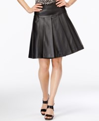 Michael Kors Pleated Faux Leather Fit And Flare Skirt Black