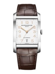 Baume And Mercier Hampton Stainless Steel And Brown Automatic Strap Watch Silver Brown