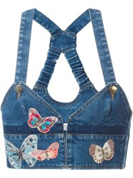 Valentino Butterfly Embroidered Denim Top Blue