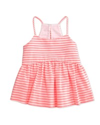 Milly Minis Striped Racerback Smocked Tank Fluo Pink