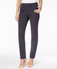 Charter Club Printed Tummy Control Ankle Pants Only At Macy's Deepest Navy Combo