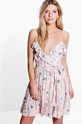 Boohoo Floral Ruffle Skater Dress Nude