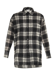 R 13 Oversized Checked Wool Shirt