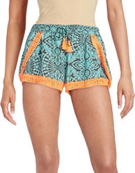 Vintage Havana Printed Embroidered Shorts Turquoise