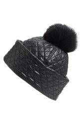 Women's Ugg Australia Water Resistant Quilted Hat With Genuine Shearling Pompom Black Black Multi