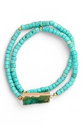 Women's Elise M. Double Wrap Beaded Bracelet Turquoise