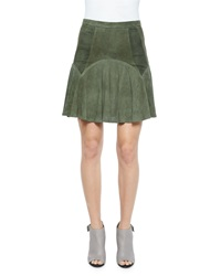 Parker Boris Perforated Leather Skirt Spruce