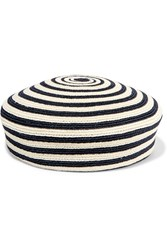 Gucci Striped Woven Hemp And Cotton Blend Beret Midnight Blue Cream