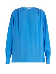 Stella Mccartney Gathered Round Neck Silk Blouse Blue