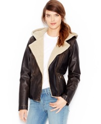 Levi's Faux Leather Hooded Sherpa Moto Jacket Dark Brown