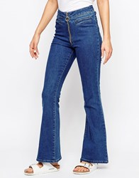 Chorus Zip Front High Rise Flare Blue