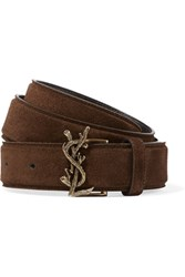 Saint Laurent Suede Waist Belt Brown