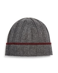 The Men's Store At Bloomingdale's Ribbed Wool Beanie Grey Wine