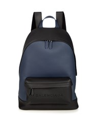 Balenciaga Bi Colour Leather Backpack Navy Multi