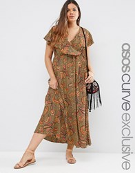 Asos Curve Maxi Dress In Paisley Floral Print Multi