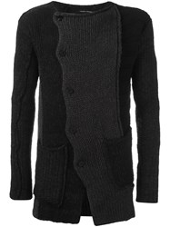 Isabel Benenato Scalloped Fastening Cardigan Black