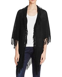 Minnie Rose Cashmere Fringe Shawl Black