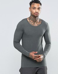 Asos Extreme Muscle Long Sleeve T Shirt With Scoop Neck In Khaki Khaki Green
