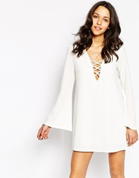 Swing Dress With Lace Up And Flare Sleeves Cream
