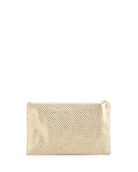 Lauren Merkin Medium Zip Top Pearlized Linen Check Clutch Bag Platinum