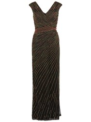Gina Bacconi Long V Neck Beaded Gown Coral