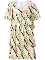 Sonia Rykiel Tiered Pleat Mini Dress Green