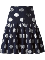 Kenzo Polka Dot Knitted Skirt Blue