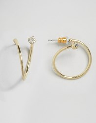 Asos Twist Jewel Hoop Earrings Gold