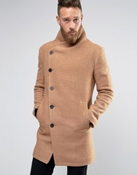 Religion Overcoat With Asymmetric Buttons Camel Tan