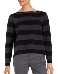 Eileen Fisher Petite Striped Boatneck Pullover Black