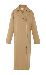 Isa Arfen Crystal Zip Long Trench Khaki
