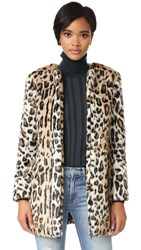 Cupcakes And Cashmere Elvina Faux Fur Leopard Coat Natural
