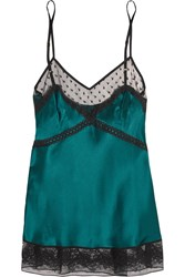 Mimi Holliday Rubinette Lace And Tulle Trimmed Silk Satin Camisole Green