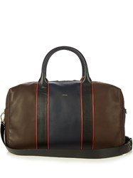 Paul Smith Colour Block Leather Piped Holdall Brown Multi