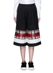 Cynthia And Xiao Textured Tartan Colourblock Culottes Black