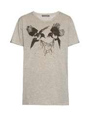 Alexander Mcqueen Magpie Print Short Sleeved Cotton T Shirt Grey