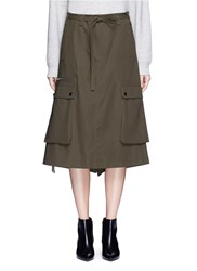 Helmut Lang Utility Pocket Tie Waist Cotton Twill Skirt Green