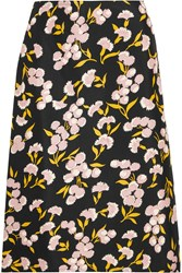Marni Floral Print Cotton And Silk Blend Faille Skirt Black Antique Rose