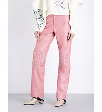 J.W.Anderson Jw Anderson Stud Embellished Flared Leather Trousers Pink