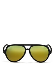 Ray Ban Matte Plastic Aviator Sunglasses Black