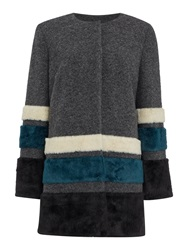 Pied A Terre Collarless Faux Fur Stripe Coat Grey