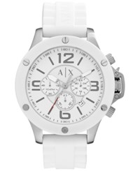 Ax Armani Exchange Men's Chronograph White Silicone Strap Watch 48Mm Ax1525