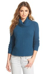 Petite Women's Halogen Cashmere Mixed Rib Turtleneck Teal Abyss