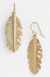 Melinda Maria Feather Drop Earrings Gold