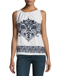 Max Studio Embroidered Cotton Tank Off White Navy