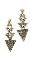 House Of Harlow 2 Way Pave Tribal Triangle Earrings Gold
